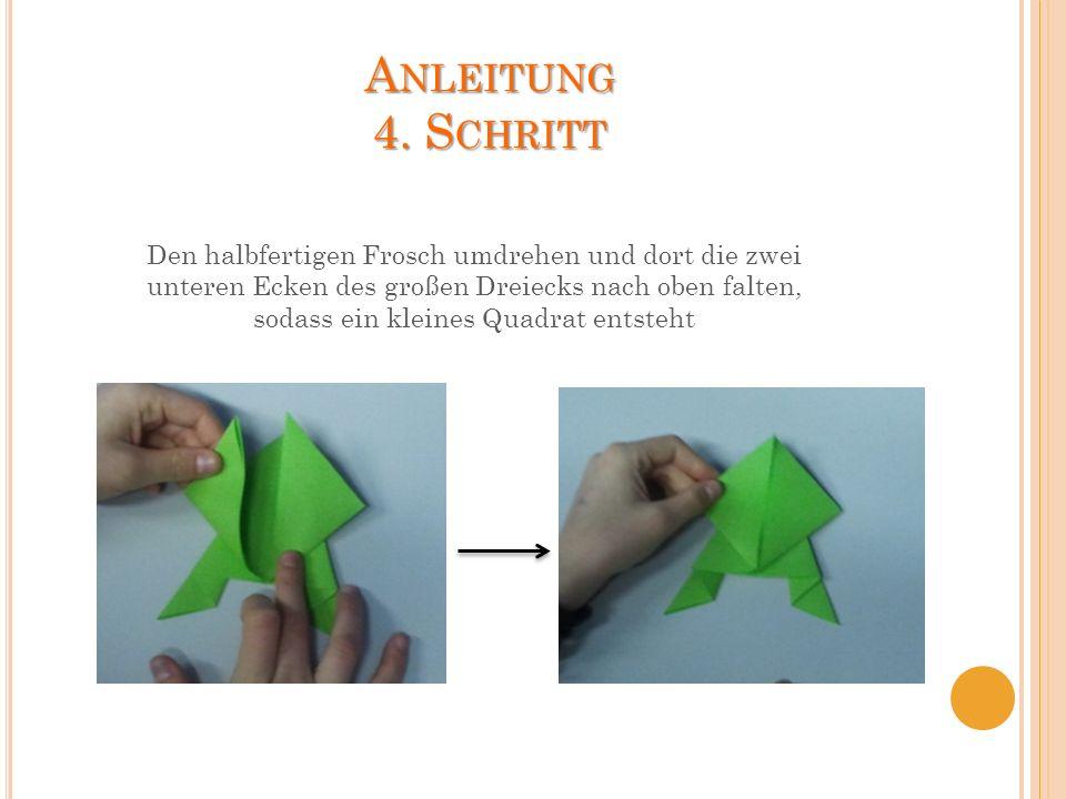 A NLEITUNG 4. S CHRITT Den halbfertigen Frosch umdrehen und dort die zwei unteren Ecken des großen Dreiecks nach oben falten, sodass ein kleines Quadr