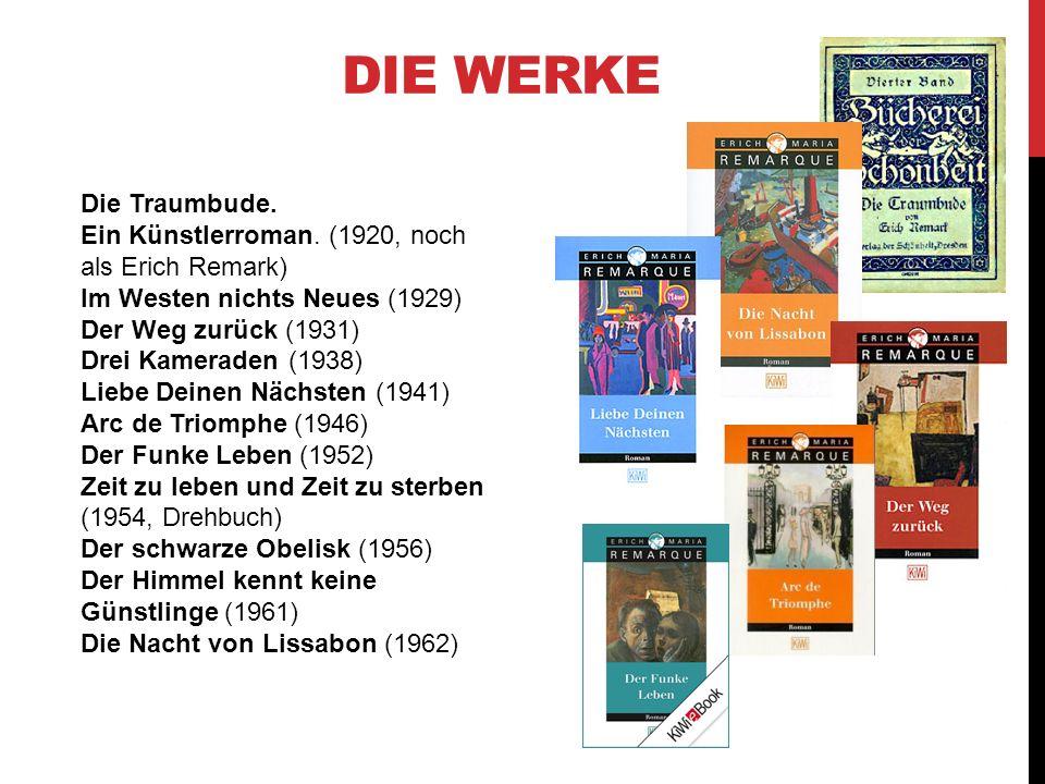 DIE WERKE Die Traumbude. Ein Künstlerroman. (1920, noch als Erich Remark) Im Westen nichts Neues (1929) Der Weg zurück (1931) Drei Kameraden (1938) Li