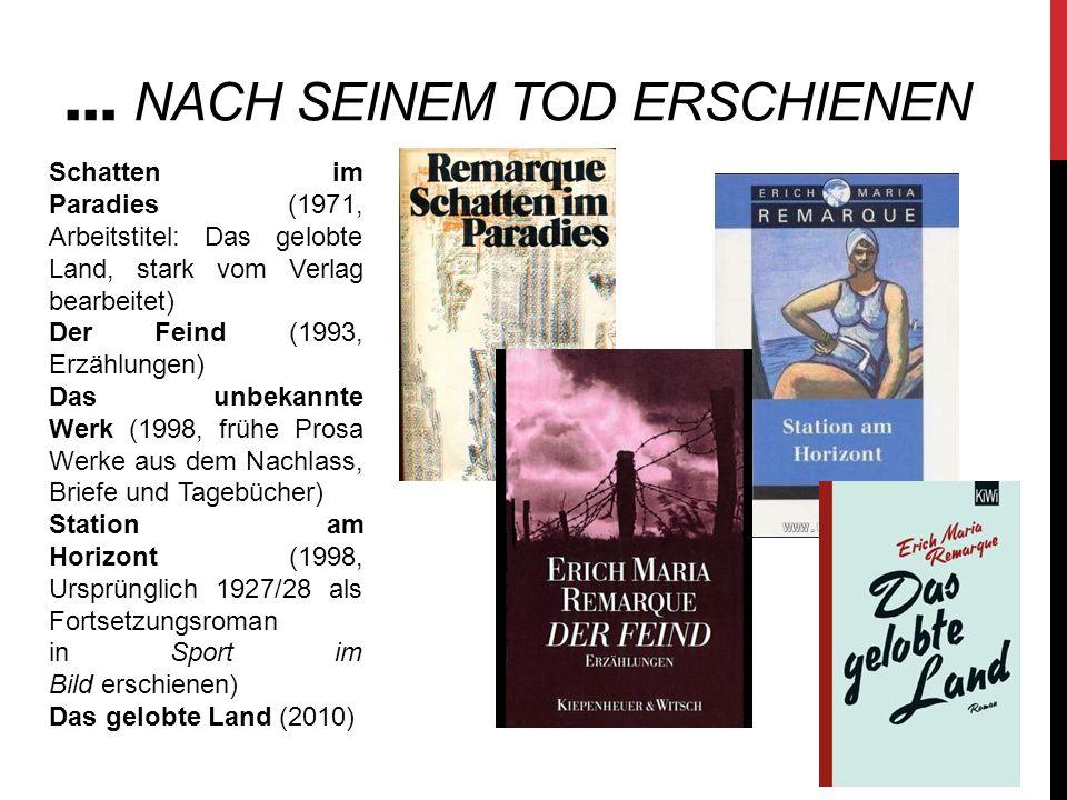 … NACH SEINEM TOD ERSCHIENEN Schatten im Paradies (1971, Arbeitstitel: Das gelobte Land, stark vom Verlag bearbeitet) Der Feind (1993, Erzählungen) Da