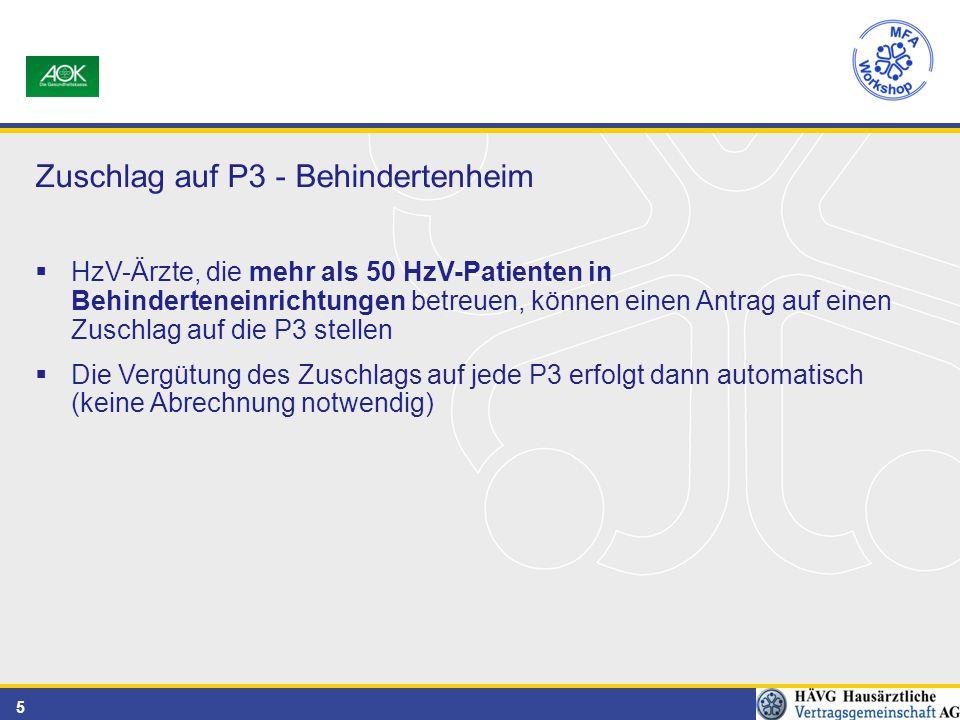 5 Zuschlag auf P3 - Behindertenheim  HzV-Ärzte, die mehr als 50 HzV-Patienten in Behinderteneinrichtungen betreuen, können einen Antrag auf einen Zuschlag auf die P3 stellen  Die Vergütung des Zuschlags auf jede P3 erfolgt dann automatisch (keine Abrechnung notwendig)