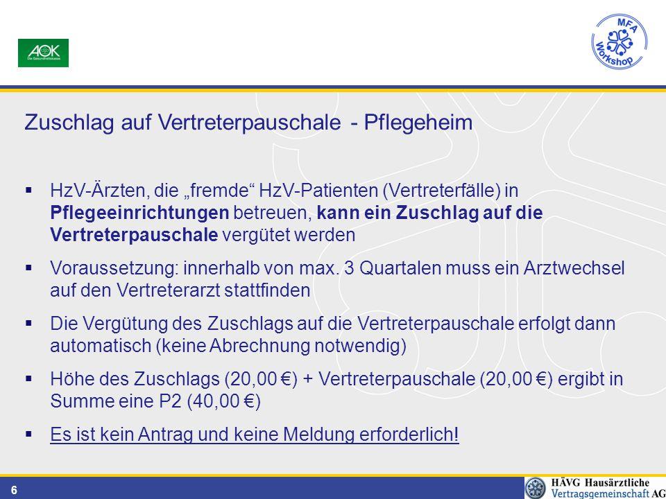 """6 Zuschlag auf Vertreterpauschale - Pflegeheim  HzV-Ärzten, die """"fremde HzV-Patienten (Vertreterfälle) in Pflegeeinrichtungen betreuen, kann ein Zuschlag auf die Vertreterpauschale vergütet werden  Voraussetzung: innerhalb von max."""