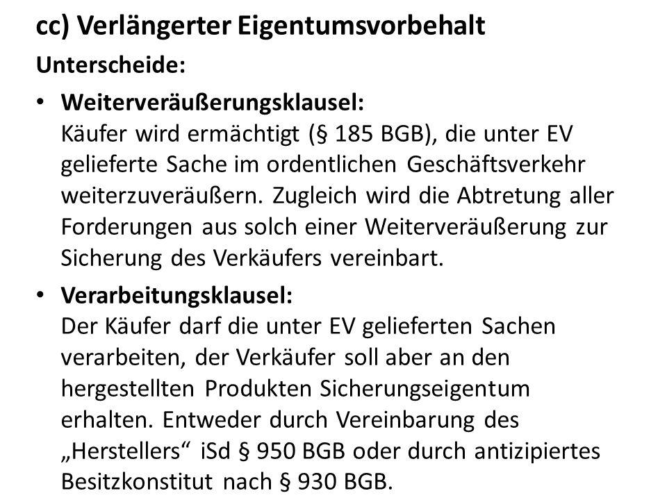 iv.Die schuldrechtliche Seite des EV aa) Rücktritt des Verkäufers und Rücknahme der Sache § 449 Abs.