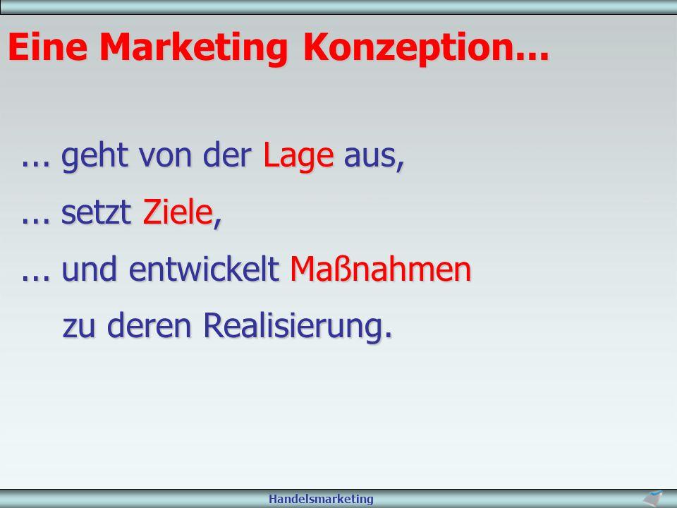 Handelsmarketing Eine Marketing Konzeption...... geht von der Lage aus,... setzt Ziele,... und entwickelt Maßnahmen zu deren Realisierung.
