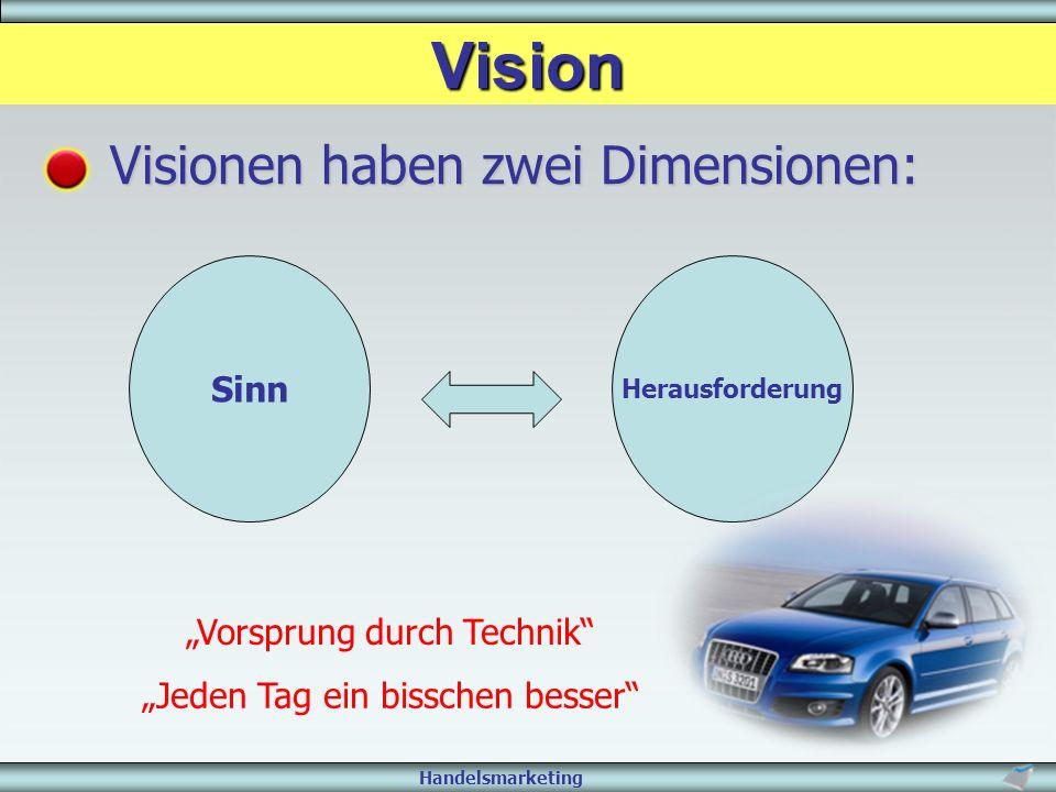 """Handelsmarketing Vision Visionen haben zwei Dimensionen: Sinn Herausforderung """"Vorsprung durch Technik"""" """"Jeden Tag ein bisschen besser"""""""