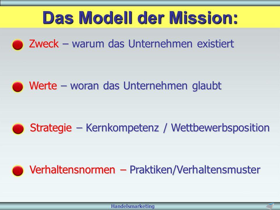 Handelsmarketing Das Modell der Mission: Zweck – warum das Unternehmen existiert Werte – woran das Unternehmen glaubt Strategie – Kernkompetenz / Wett