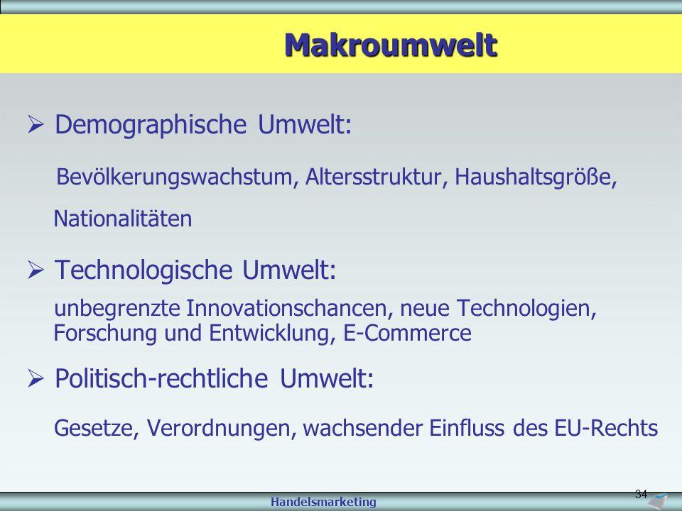 Handelsmarketing 34 Makroumwelt Makroumwelt  Demographische Umwelt: Bevölkerungswachstum, Altersstruktur, Haushaltsgröße, Nationalitäten  Technologi