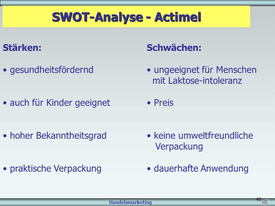 Handelsmarketing 46 SWOT-Analyse - Actimel Stärken: gesundheitsfördernd auch für Kinder geeignet hoher Bekanntheitsgrad praktische Verpackung Schwäche