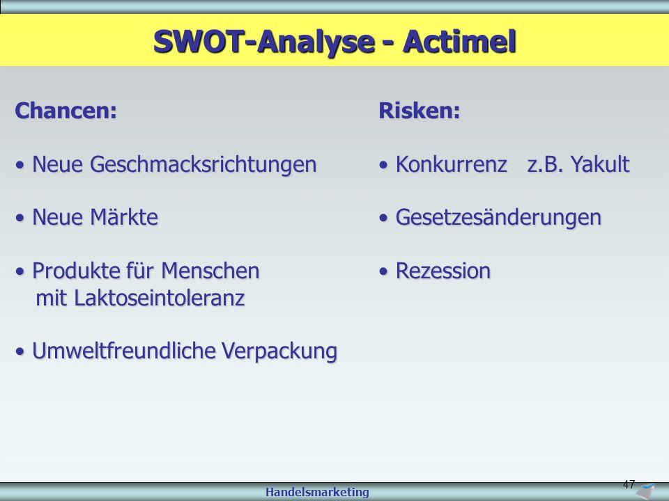 Handelsmarketing 47 SWOT-Analyse - Actimel Chancen: Neue Geschmacksrichtungen Neue Geschmacksrichtungen Neue Märkte Neue Märkte Produkte für Menschen