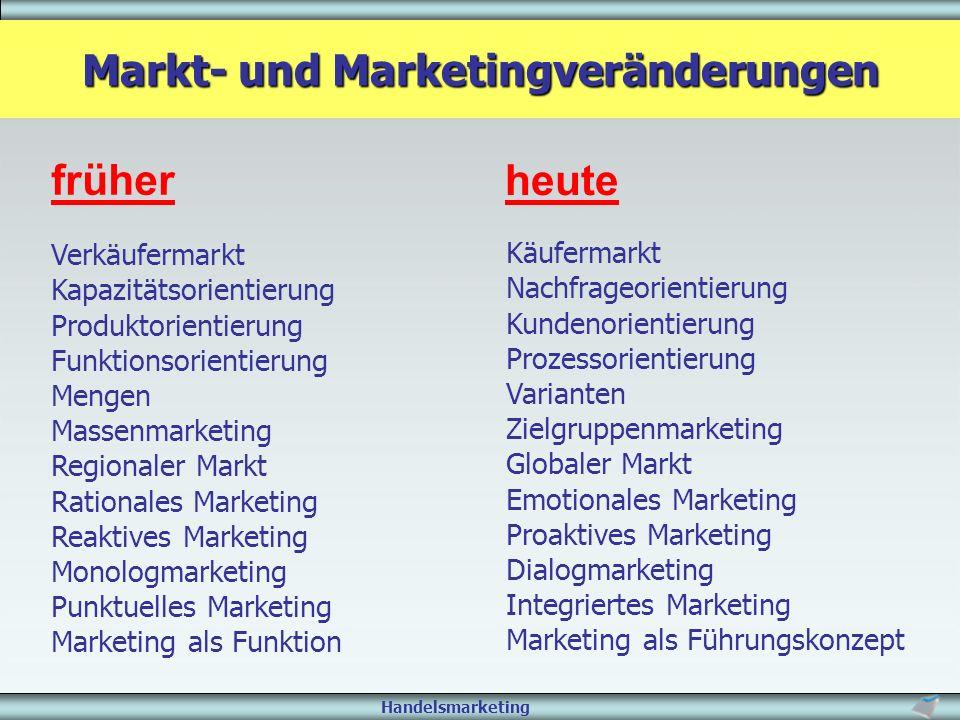 Handelsmarketing Markt- und Marketingveränderungen früher heute Verkäufermarkt Kapazitätsorientierung Produktorientierung Funktionsorientierung Mengen