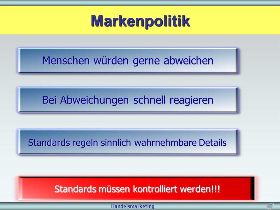 Handelsmarketing Standards müssen kontrolliert werden!!! Menschen würden gerne abweichen Bei Abweichungen schnell reagieren Standards regeln sinnlich