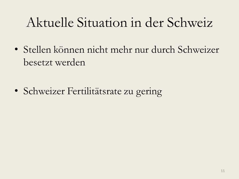 Aktuelle Situation in der Schweiz Stellen können nicht mehr nur durch Schweizer besetzt werden Schweizer Fertilitätsrate zu gering 11