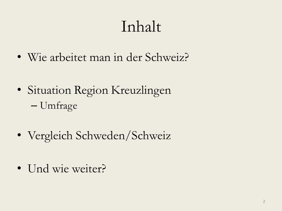 Inhalt Wie arbeitet man in der Schweiz? Situation Region Kreuzlingen – Umfrage Vergleich Schweden/Schweiz Und wie weiter? 2