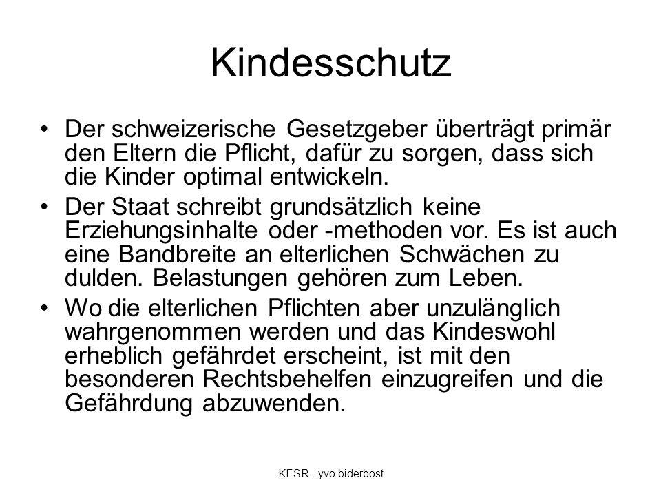 Kindesschutz Der schweizerische Gesetzgeber überträgt primär den Eltern die Pflicht, dafür zu sorgen, dass sich die Kinder optimal entwickeln.