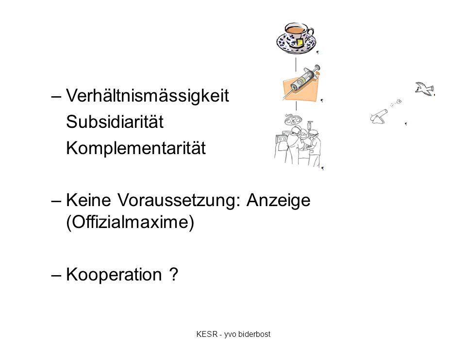 –Verhältnismässigkeit Subsidiarität Komplementarität –Keine Voraussetzung: Anzeige (Offizialmaxime) –Kooperation ? KESR - yvo biderbost
