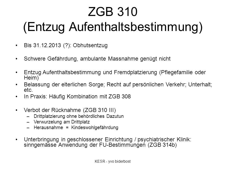 ZGB 310 (Entzug Aufenthaltsbestimmung) Bis 31.12.2013 (?): Obhutsentzug Schwere Gefährdung, ambulante Massnahme genügt nicht Entzug Aufenthaltsbestimm