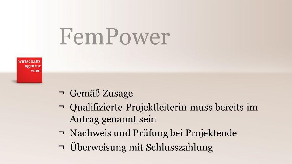 FemPower ¬Gemäß Zusage ¬Qualifizierte Projektleiterin muss bereits im Antrag genannt sein ¬Nachweis und Prüfung bei Projektende ¬Überweisung mit Schlusszahlung