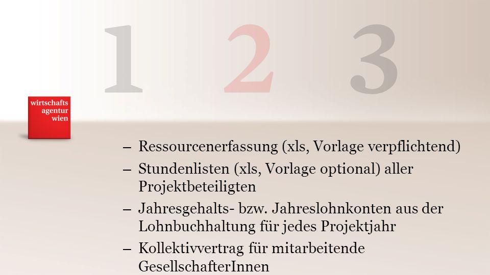 – Ressourcenerfassung (xls, Vorlage verpflichtend) – Stundenlisten (xls, Vorlage optional) aller Projektbeteiligten – Jahresgehalts- bzw.