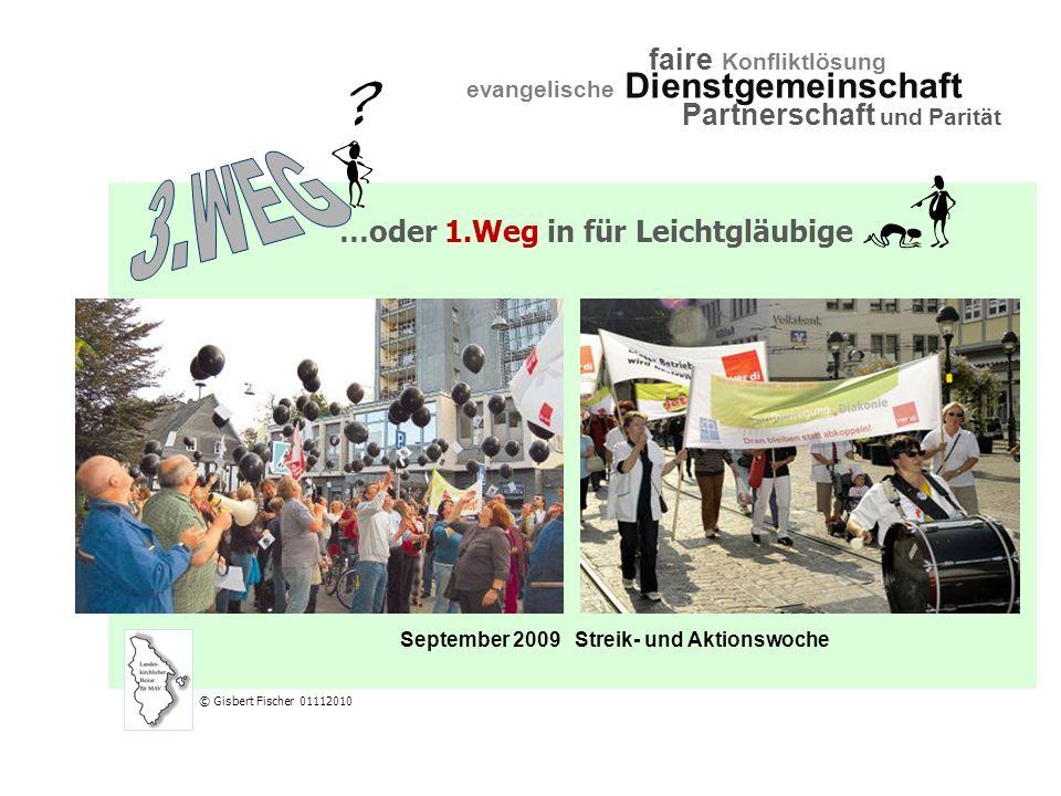 September 2009Streik- und Aktionswoche evangelische Dienstgemeinschaft faire Konfliktlösung Partnerschaft und Parität © Gisbert Fischer 01112010 …oder 1.Weg in für Leichtgläubige