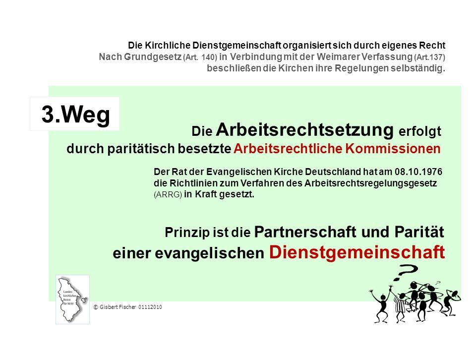 3.Weg Die Arbeitsrechtsetzung erfolgt durch paritätisch besetzte Arbeitsrechtliche Kommissionen Der Rat der Evangelischen Kirche Deutschland hat am 08.10.1976 die Richtlinien zum Verfahren des Arbeitsrechtsregelungsgesetz (ARRG) in Kraft gesetzt.