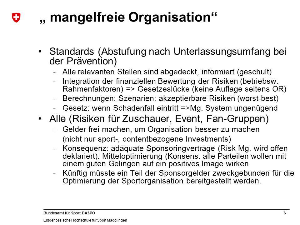 6 Bundesamt für Sport BASPO Eidgenössische Hochschule für Sport Magglingen Standards (Abstufung nach Unterlassungsumfang bei der Prävention) -Alle relevanten Stellen sind abgedeckt, informiert (geschult) -Integration der finanziellen Bewertung der Risiken (betriebsw.