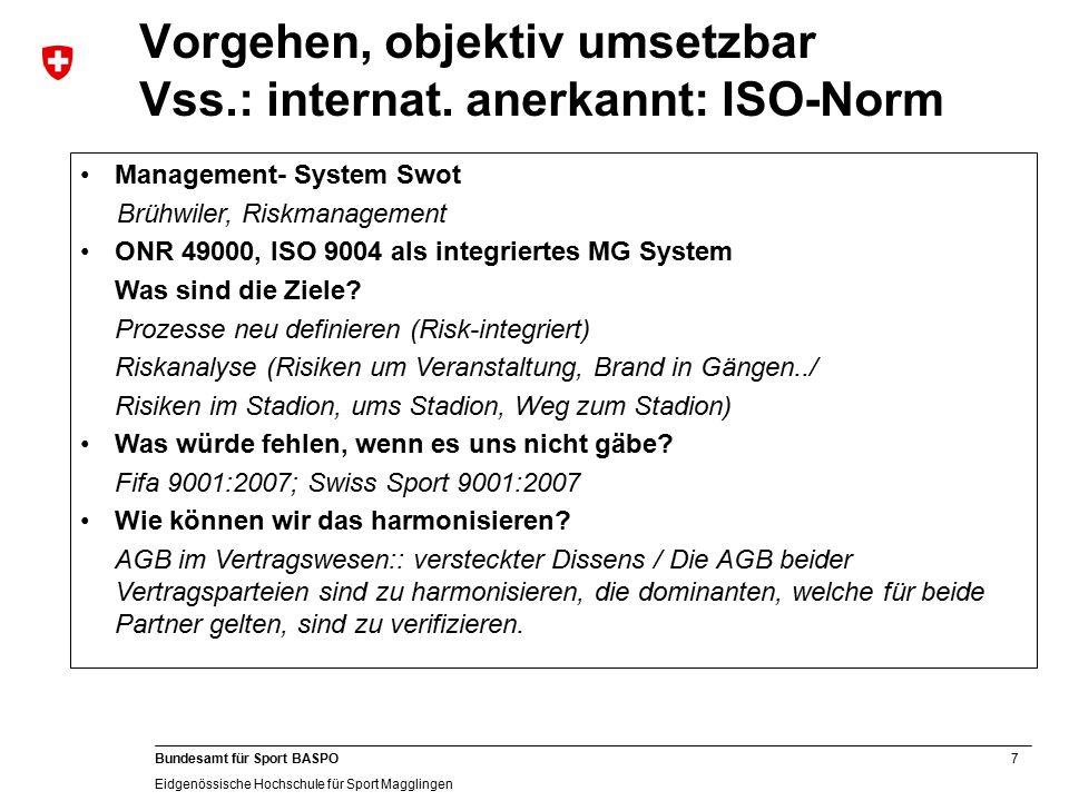 7 Bundesamt für Sport BASPO Eidgenössische Hochschule für Sport Magglingen Vorgehen, objektiv umsetzbar Vss.: internat.