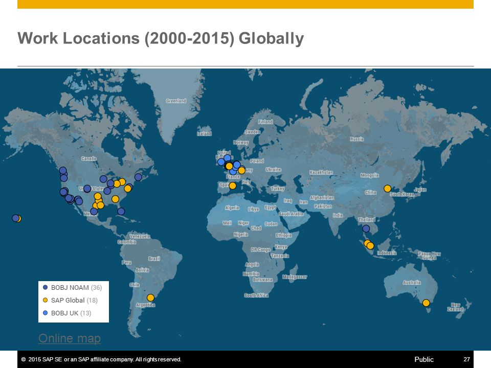©2015 SAP SE or an SAP affiliate company. All rights reserved.27 Public Work Locations (2000-2015) Globally Online map