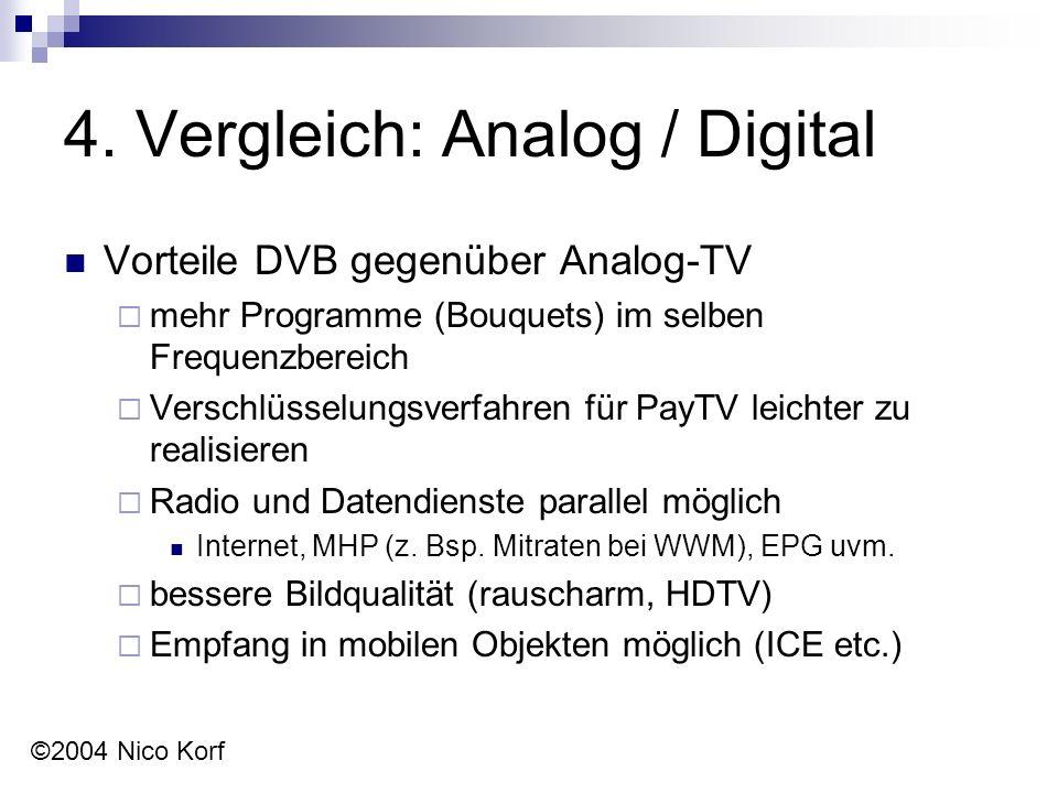 4. Vergleich: Analog / Digital Vorteile DVB gegenüber Analog-TV  mehr Programme (Bouquets) im selben Frequenzbereich  Verschlüsselungsverfahren für