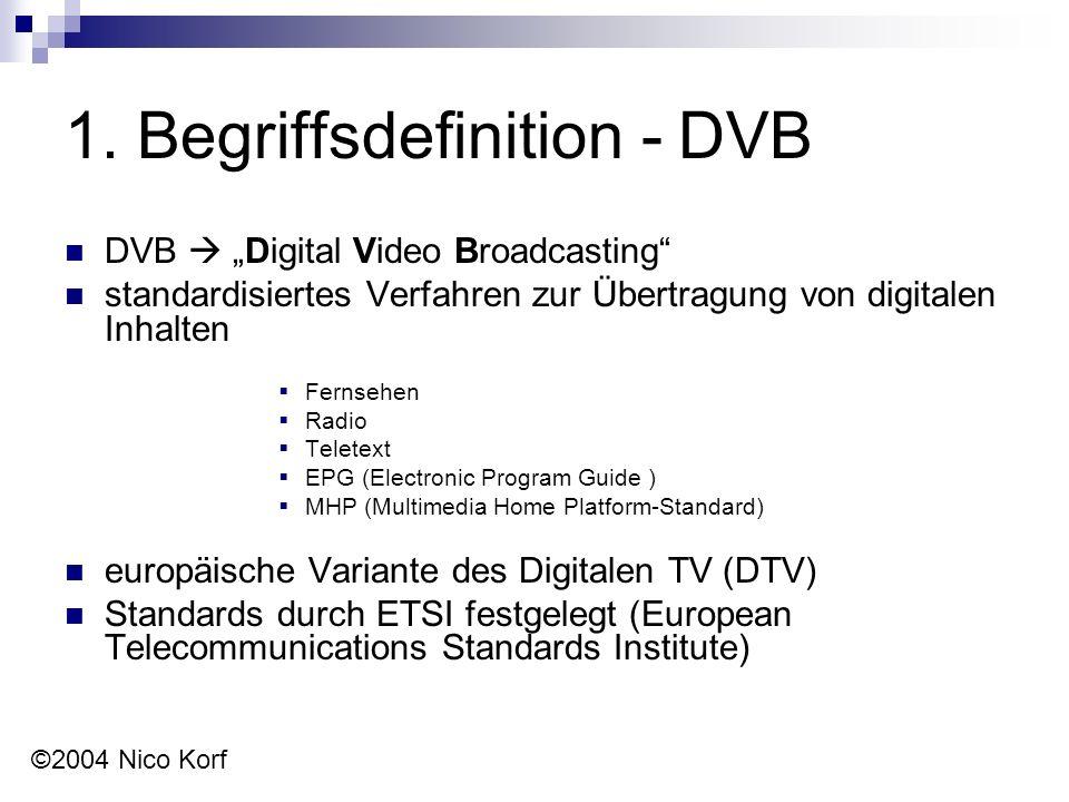 """1. Begriffsdefinition - DVB DVB  """"Digital Video Broadcasting"""" standardisiertes Verfahren zur Übertragung von digitalen Inhalten  Fernsehen  Radio """