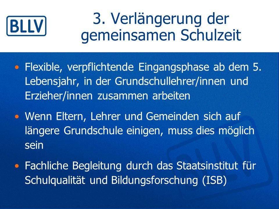 3. Verlängerung der gemeinsamen Schulzeit Flexible, verpflichtende Eingangsphase ab dem 5. Lebensjahr, in der Grundschullehrer/innen und Erzieher/inne