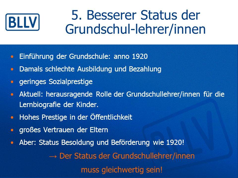5. Besserer Status der Grundschul-lehrer/innen Einführung der Grundschule: anno 1920 Damals schlechte Ausbildung und Bezahlung geringes Sozialprestige