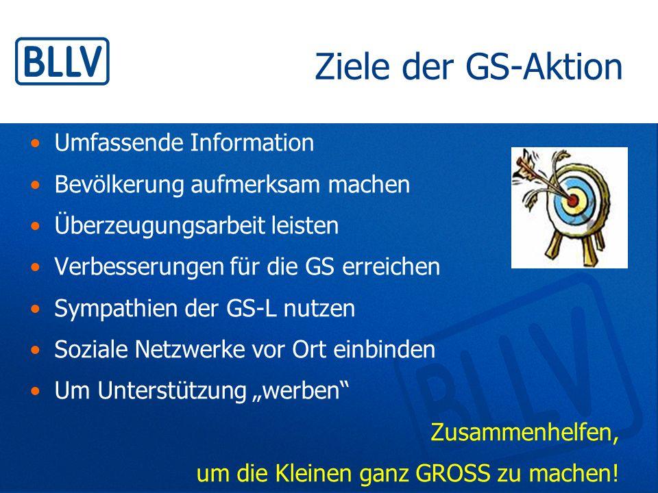 Ziele der GS-Aktion Umfassende Information Bevölkerung aufmerksam machen Überzeugungsarbeit leisten Verbesserungen für die GS erreichen Sympathien der
