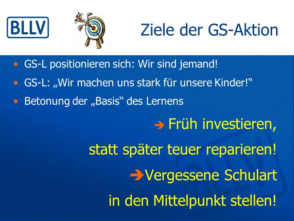 """Ziele der GS-Aktion GS-L positionieren sich: Wir sind jemand! GS-L: """"Wir machen uns stark für unsere Kinder!"""" Betonung der """"Basis"""" des Lernens  Früh"""