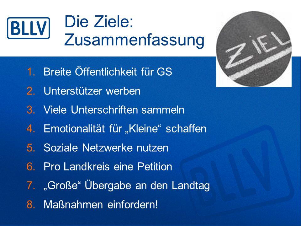 """Die Ziele: Zusammenfassung 1.Breite Öffentlichkeit für GS 2.Unterstützer werben 3.Viele Unterschriften sammeln 4.Emotionalität für """"Kleine"""" schaffen 5"""