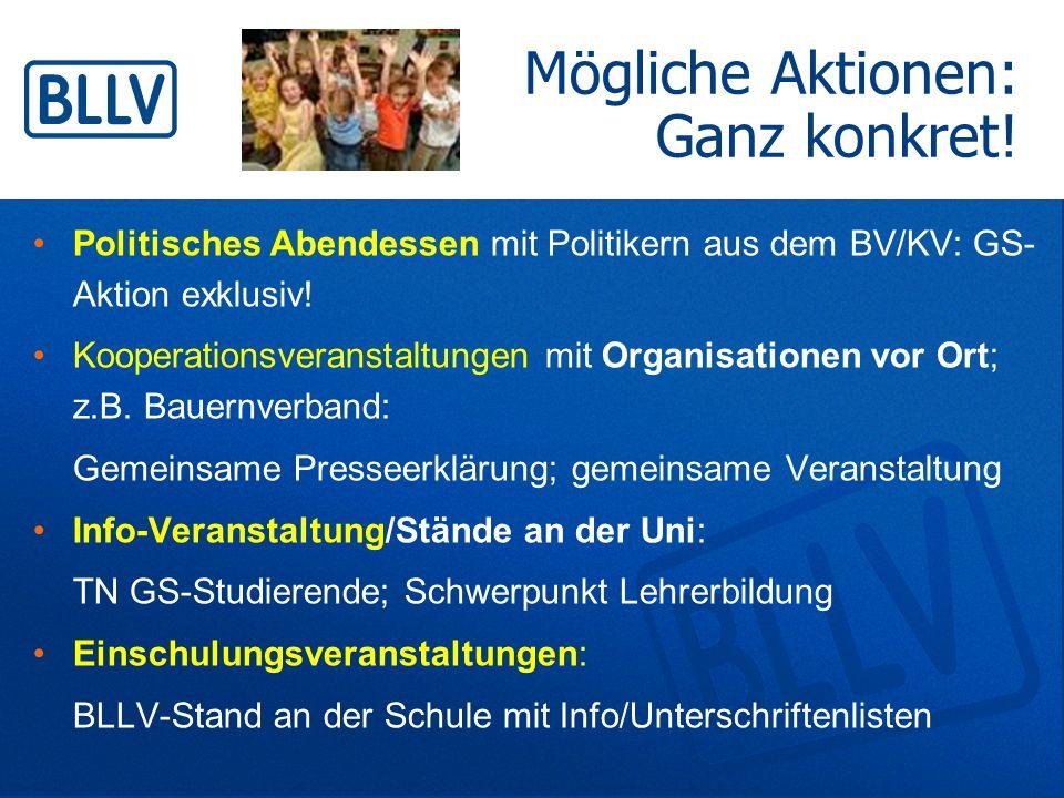 Politisches Abendessen mit Politikern aus dem BV/KV: GS- Aktion exklusiv! Kooperationsveranstaltungen mit Organisationen vor Ort; z.B. Bauernverband: