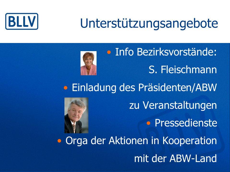 Unterstützungsangebote Info Bezirksvorstände: S. Fleischmann Einladung des Präsidenten/ABW zu Veranstaltungen Pressedienste Orga der Aktionen in Koope