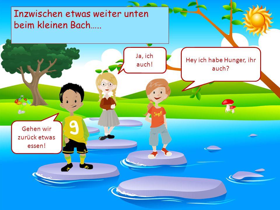Choose your characters and drag them onto the slide Inzwischen etwas weiter unten beim kleinen Bach…..