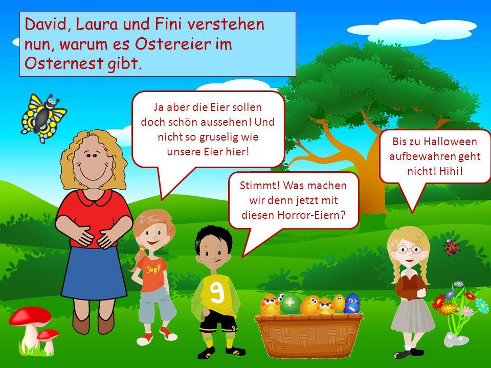 Choose your characters and drag them onto the slide David, Laura und Fini verstehen nun, warum es Ostereier im Osternest gibt. Ja aber die Eier sollen