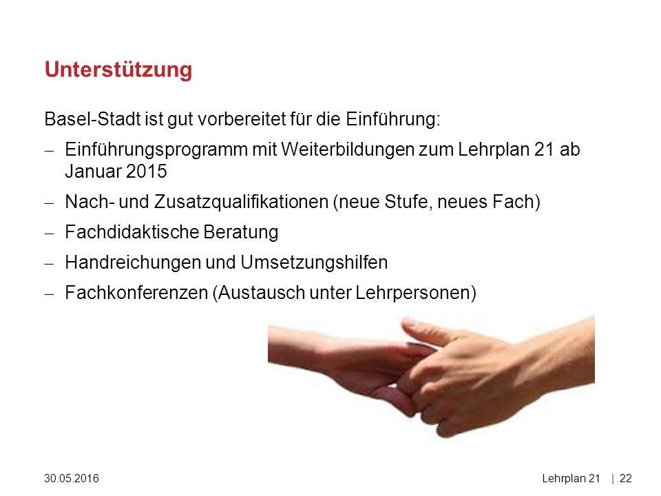 30.05.2016Lehrplan 21|22 Basel-Stadt ist gut vorbereitet für die Einführung:  Einführungsprogramm mit Weiterbildungen zum Lehrplan 21 ab Januar 2015  Nach- und Zusatzqualifikationen (neue Stufe, neues Fach)  Fachdidaktische Beratung  Handreichungen und Umsetzungshilfen  Fachkonferenzen (Austausch unter Lehrpersonen) Unterstützung