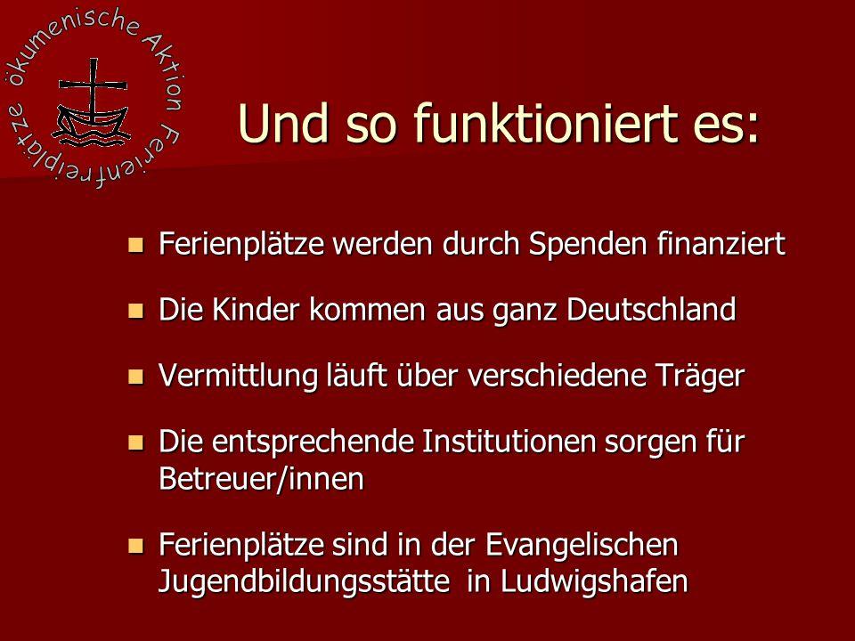 Ferienplätze werden durch Spenden finanziert Ferienplätze werden durch Spenden finanziert Die Kinder kommen aus ganz Deutschland Die Kinder kommen aus