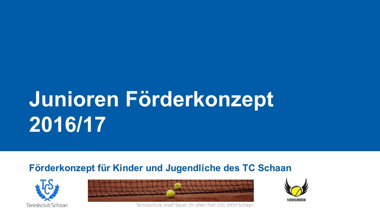 Tennisschule Josef Bauer, Im alten Riet 100, 9494 Schaan Ausgangslage Attraktiv für Neueinsteiger neue Platz- und Spielkonzepte Mittwochnachmittags Training (ca.