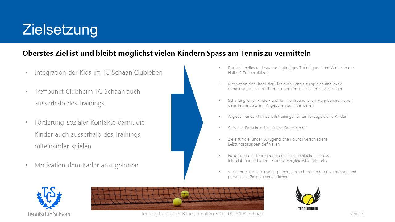 Tennisschule Josef Bauer, Im alten Riet 100, 9494 Schaan Zielsetzung Professionelles und v.a.