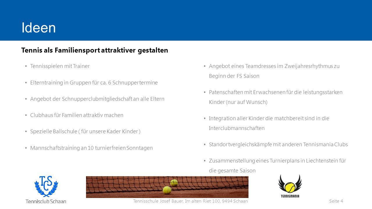 Tennisschule Josef Bauer, Im alten Riet 100, 9494 Schaan Ideen Tennisspielen mit Trainer Elterntraining in Gruppen für ca.