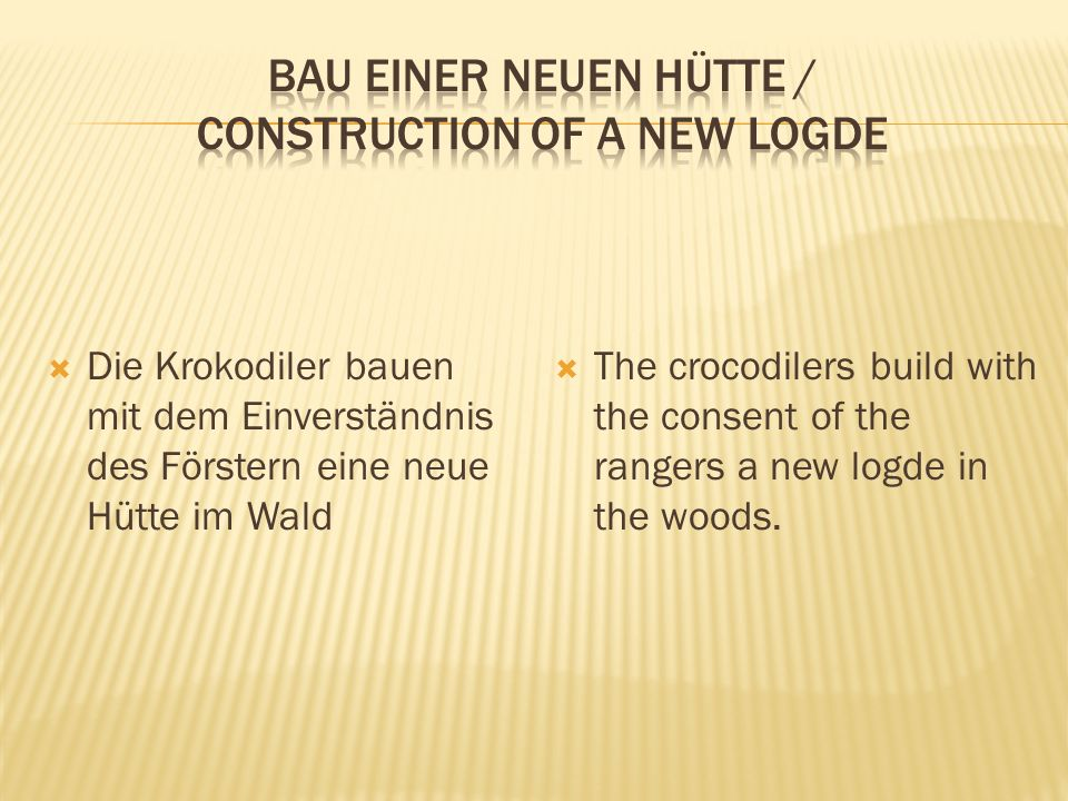  Die Krokodiler bauen mit dem Einverständnis des Förstern eine neue Hütte im Wald  The crocodilers build with the consent of the rangers a new logde in the woods.