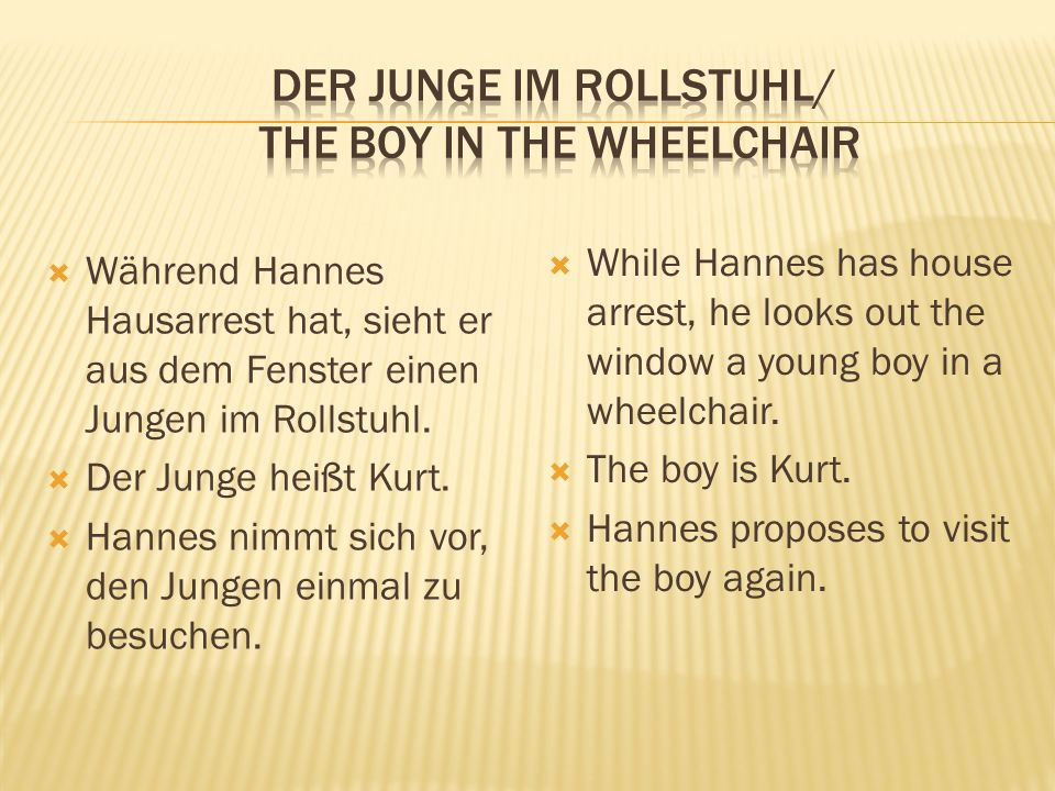  Während Hannes Hausarrest hat, sieht er aus dem Fenster einen Jungen im Rollstuhl.