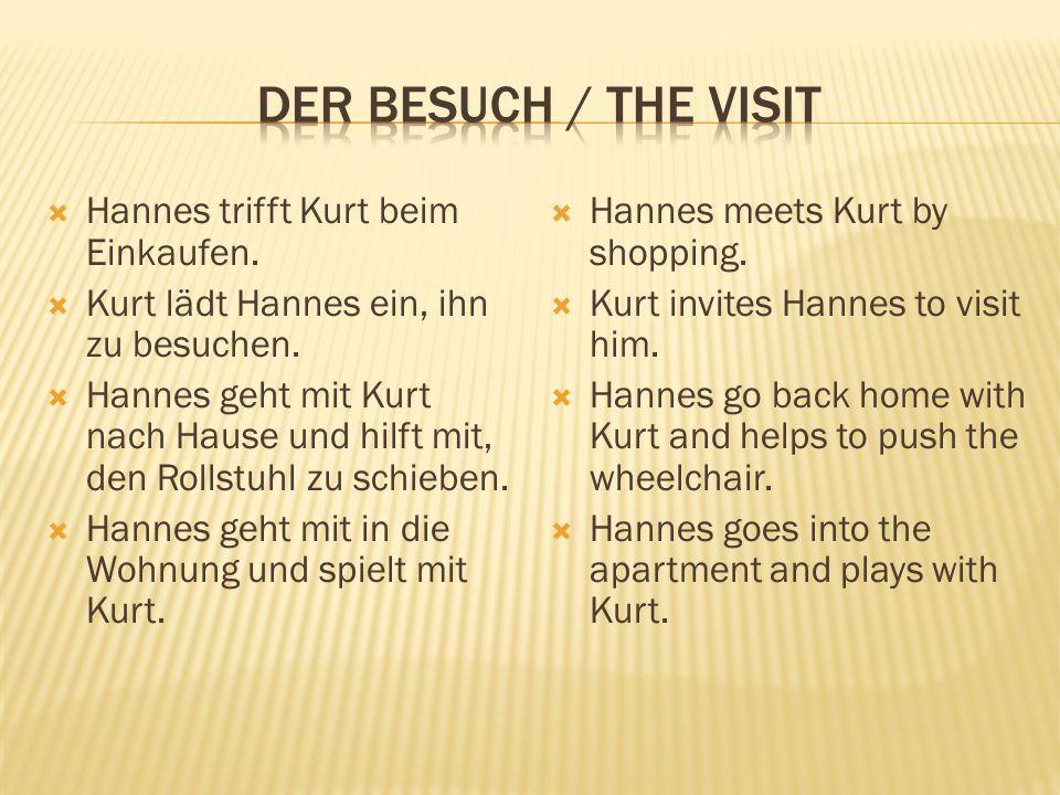  Hannes trifft Kurt beim Einkaufen.  Kurt lädt Hannes ein, ihn zu besuchen.