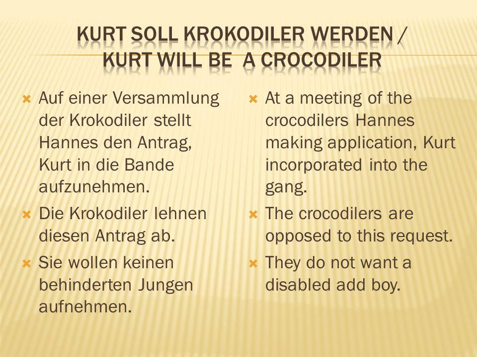 Auf einer Versammlung der Krokodiler stellt Hannes den Antrag, Kurt in die Bande aufzunehmen.