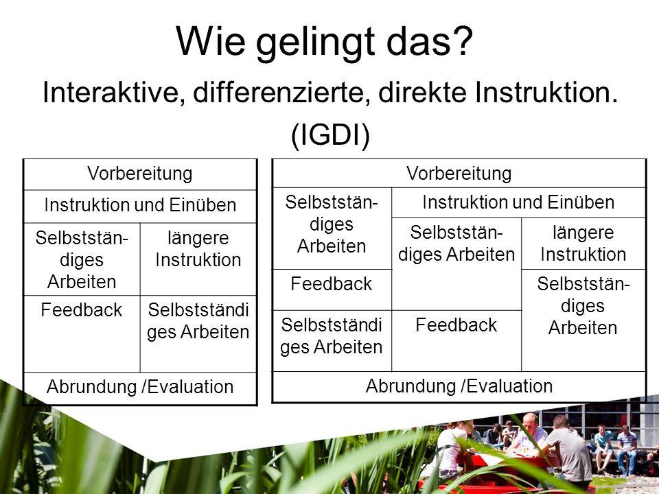 Wie gelingt das. Interaktive, differenzierte, direkte Instruktion.