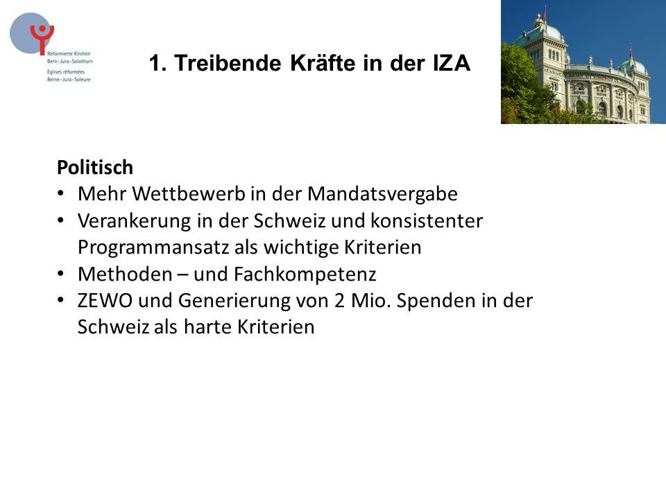 1. Treibende Kräfte in der IZA Politisch Mehr Wettbewerb in der Mandatsvergabe Verankerung in der Schweiz und konsistenter Programmansatz als wichtige
