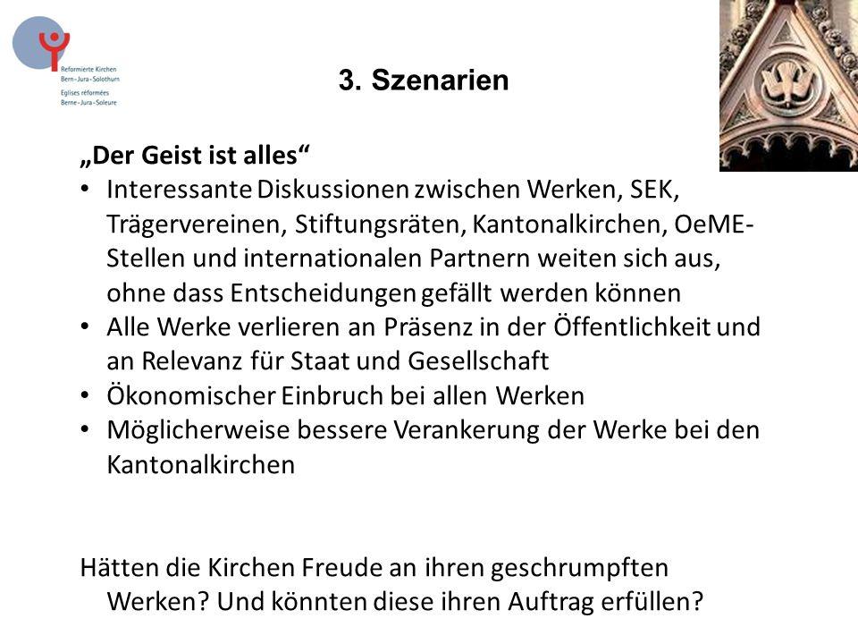 """3. Szenarien """"Der Geist ist alles"""" Interessante Diskussionen zwischen Werken, SEK, Trägervereinen, Stiftungsräten, Kantonalkirchen, OeME- Stellen und"""