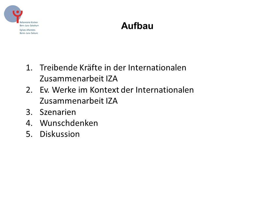 Aufbau 1.Treibende Kräfte in der Internationalen Zusammenarbeit IZA 2.Ev.
